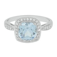 Lab-Created Aqua Spinel & White Sapphire Ring in Sterling Silver