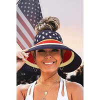 Star and Striped Foldable Visor Straw Hat
