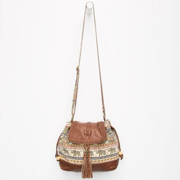 Elephant Print Flap Cover Crossbody Bag Brown Combo One Size For Women 25184644901