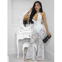 Idalia Flared Leg White Cut Out Lace Jumpsuit