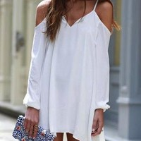 White Shift Dress - Open Shoulder Design / Asymmetrical Hemline
