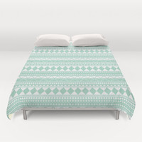 Mint Green Tribal Duvet Cover