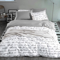 letter Printing Duvet Cover Sets King Activity Bedding sets RU USA Size,Quilt cover Sheet Set Bedroom Bedding Bed Linen Grey