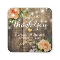 Rustic Wood Floral String Lights Wedding Thank You Square Sticker