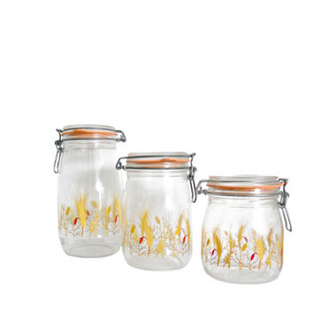 Vintage Kitchen Canisters French Glass Wheat Pattern Artwork- Stamped Arc - 1.5 L and 1 L and 3/4 L