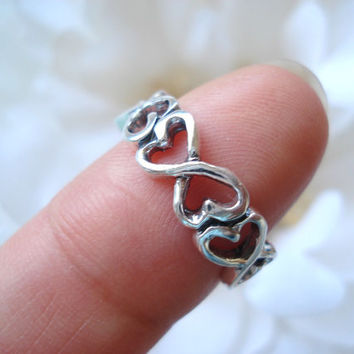 Engrave any message Infinity Heart  Sterling Silver Custom ring, handmade jewelry, everyday, wedding, best friend, gift