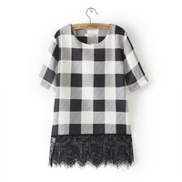 Summer Stylish Women's Fashion Plaid Lace T-shirts [6513842823]