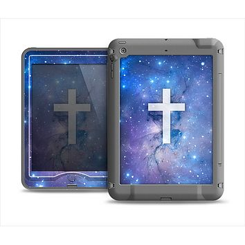 The Vector White Cross v2 over Space Nebula Apple iPad Air LifeProof Nuud Case Skin Set