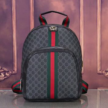 GG classic red and green striped canvas large capacity backpack shoulder bag