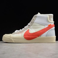 Off-White x Nike Blazer Studio Mid  White Gray Red The Ten - Best Deal Online