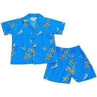 turtle swim blue hawaiian boy cabana set