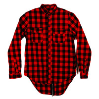 Back Zip Button Up In Red Black Plaid