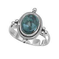 Oxidized Oval Turquoise Ring