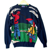 """Hathaway """"Play Through The Rain"""" Men's Tacky Ugly Golf Sweater"""