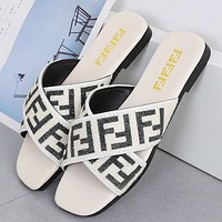 FENDI summer new fashion outer wear flat letters wild cross elastic band sandals and slippers Shoes White