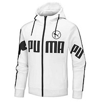PUMA New fashion letter print hooded long sleeve top coat White