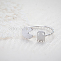 Min 1Pc 2016 New Arrival Fashion Gold Plated Pacman and Ghost Rings Unique Adjustable Rings for Women JZ011