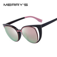 MERRY'S Fashion Cat Eye Sunglasses Women Brand Designer Retro Pierced  UV400 S'731 USASTC