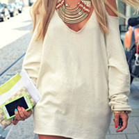 White V-Neck Long Sleeve Cut Out Shoulder Mini Dress