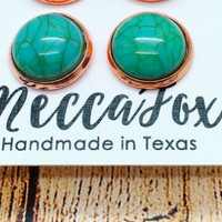 Meccafox 12MM Turquoise Stud Earrings in Rose Gold