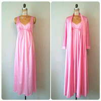 Vintage Vanity Fair Pink Peignoir Set, Nightgown and Robe, Vibrant Pink Pajamas, Small to Medium Pink Nightgown and Robe, Vintage Lingerie
