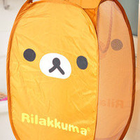 San-X Rilakkuma cute brown Foldable Clothes Laundry Basket Storage Bag free ship