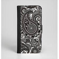 The Black & White Paisley Pattern V1 Ink-Fuzed Leather Folding Wallet Case for the iPhone 6/6s, 6/6s Plus, 5/5s and 5c