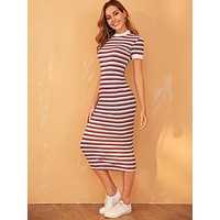SHEIN Contrast Neck and Cuff Striped Pencil Dress