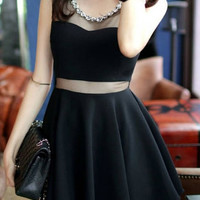 Black Sheer Mesh Panel Skater Dress With Rhinestone Neckline