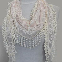 ivory scarf,lace scarf,scarf,gift