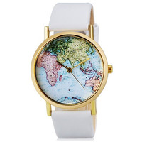 Women's Map Print Analog Watch with Faux Leather Strap (White)