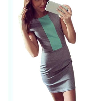 2016 Sexy summer dress women fashion pink gray color block tight fitted dresses ladies sexy bodycon zipper back dress J3271