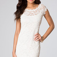 Short Lace Cap Sleeve Dress