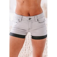 Audrey Low-Rise Rolled Hem Shorts (Charcoal)