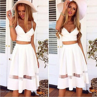 Spaghetti Strap Two Piece Set Dress