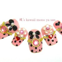 Prom, Deco nails, Japanese 3D nails, Yurie, polka dots himegyaru nail art