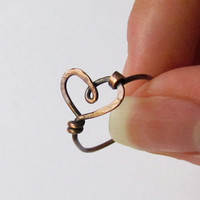 Wire Heart Ring - Hammered Oxidized Copper - Cute Simple Custom Sized Ring - Girlfriend Gift