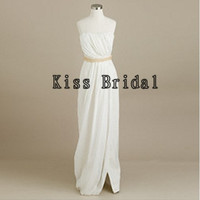 A-line Strapless Sleeveless Floor-length Chiffon Bridesmaid Dress With Sashes Free Shipping