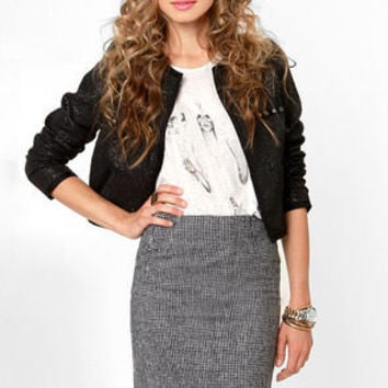 Ain't Nothing But a Houndstooth Black Pencil Skirt