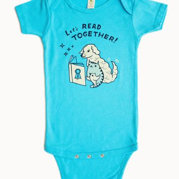 SALE: Let's Read Together Organic Baby Onesuit (Turquoise Blue)
