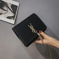 Women Fashion Cute Y Letter Metal Chain Single Shoulder Messenger Bag  Small Square Bag