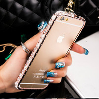 6 7 Luxury Bling Diamond Bumper For Iphone 7 6 6s 5 5s SE Case Fashion Glitter Crystal Rhinestone Snake Inlay Metal Frame Cover