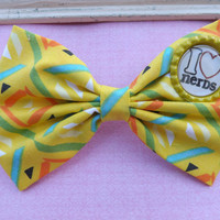 I Love Nerds saying yellow abstract fabric bow headbands for babies, toddlers, teens, and adults.          ~FABRIC BOW DEPOT~