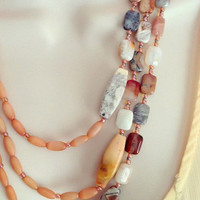 Crazy Lace Agate Necklace set with Cats Eye beads, Colorful Agate beads, Asymmetrical style-Healing Jewelry-Women's Jewelry, Gift for her