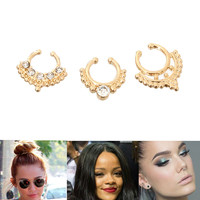 Gold 3 PIECE Simple Statement BLING NOSE RING SET Metal One Size Celebrity Style
