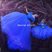 Cinderella Royal Blue Prom Dresses 2016 Mother Daughter Dress with Beads Butterflies Vestidos de Quinceaneras Price for Mother
