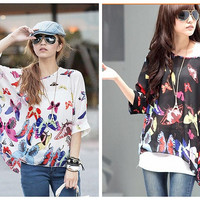 women Latest Plus T-shirt Chiffon Floral Butterfly Printed oversized Tops Loose Casual Blouse = 1704377220