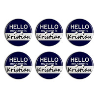 Kristian Hello My Name Is Plastic Resin Button Set of 6