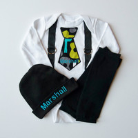 Tie and Suspenders Personalized Baby Boy Onesuit Leg Warmer Gift Set With Beanie Hat- Choose Your Fabric