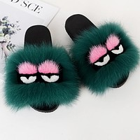 FENDI Fashion Women Cute Little Monsters Fur Flats Sandals Slipper Shoes Dark Green
